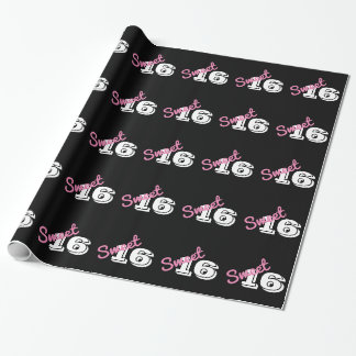 Sweet 16 Birthday Pink Black White Wrapping Paper