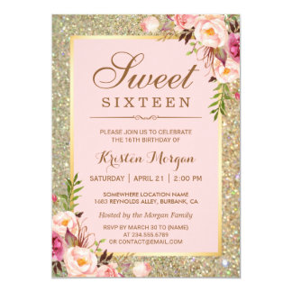 Sweet 16 Birthday | Pink Floral Gold Glitters 13 Cm X 18 Cm Invitation Card