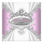 Sweet 16 Birthday Princess Pink Diamonds Tiara Personalised Invitation