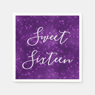 Sweet 16 Birthday Purple Sparkle and Shimmer Disposable Serviette