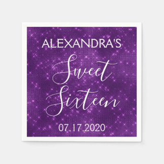 Sweet 16 Birthday Purple Sparkle and Shimmer Paper Napkin