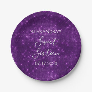 Sweet 16 Birthday Purple Sparkle and Shimmer Paper Plate