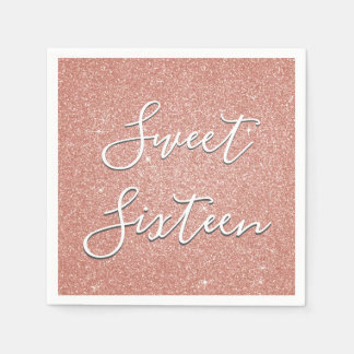 Sweet 16 Birthday Rose Gold Blush Pink Glitter Disposable Serviette