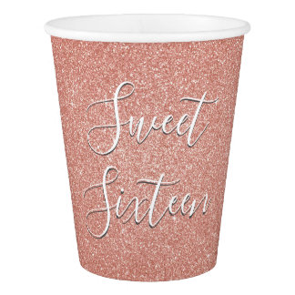 Sweet 16 Birthday Rose Gold Blush Pink Glitter Paper Cup