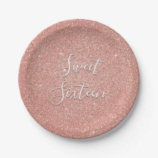 Sweet 16 Birthday Rose Gold Blush Pink Glitter Paper Plate