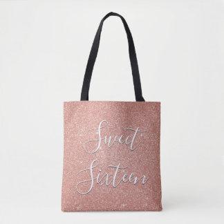 Sweet 16 Birthday Rose Gold Blush Pink Glitter Tote Bag