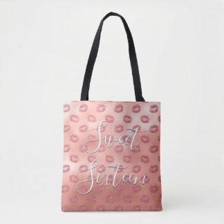 Sweet 16 Birthday Rose Gold Blush Pink Lips Tote Bag