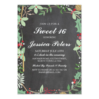 Sweet 16 Birthday Rustic Chalk Foliage Invite