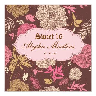 Sweet 16 Birthday Vintage Floral Pink Brown 13 Cm X 13 Cm Square Invitation Card