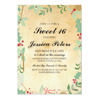 Sweet 16 Birthday Vintage foliage Rustic Invite