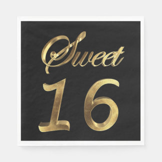 Sweet 16 Black and Gold Look Typography Elegant Disposable Serviette