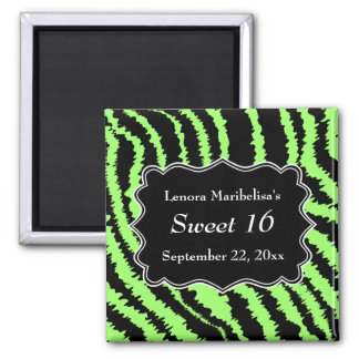 Sweet 16 Black and Lime Green Zebra Pattern Magnets