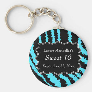 Sweet 16 Black and Turquoise Zebra Pattern Basic Round Button Key Ring