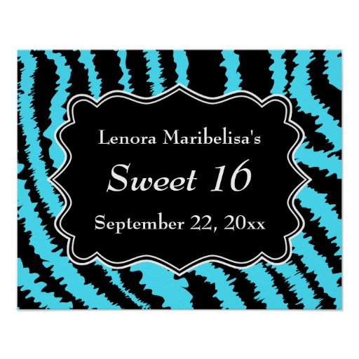 Sweet 16 Black and Turquoise Zebra Pattern Print