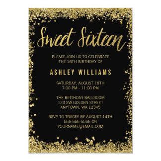 Sweet 16 Black Gold Glitter Birthday 13 Cm X 18 Cm Invitation Card