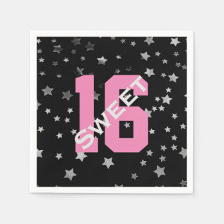 Sweet 16 Black Pink Silver Stars | Sweet Sixteen Disposable Napkin