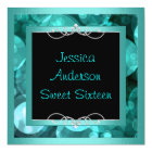 Sweet 16 Black Teal Bubbles Metal  Frame Party Card