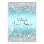 Sweet 16 Blue Diamond Snowflake Winter Wonderland 13 Cm X 18 Cm Invitation Card