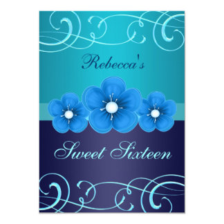 Sweet 16 Blue Flower & Tiara Birthday Invite