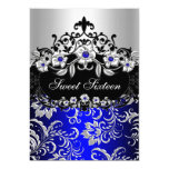 Sweet 16 Blue Silver Black Floral Jewel Party 13 Cm X 18 Cm Invitation Card