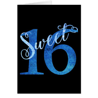 Sweet 16 Blue | Watercolor 16th Birthday Party Card