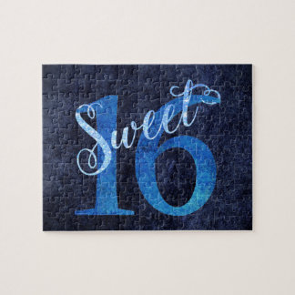Sweet 16 Blue | Watercolor 16th Birthday Party Jigsaw Puzzle