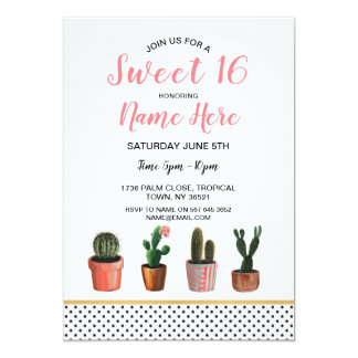 Sweet 16 Cactus Cacti Succulents Birthday Party Card