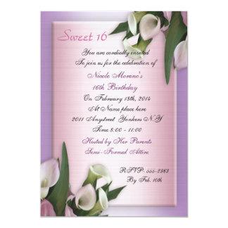 Sweet 16 calla lily birthday invitation elegant