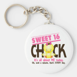 Sweet 16 Chick 3 Basic Round Button Key Ring