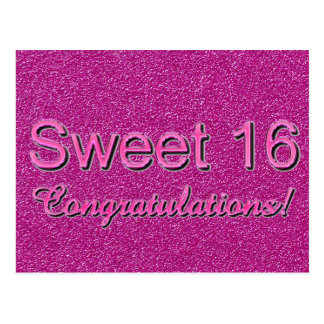 Sweet 16 Congratulations Hot Pink Shiny Typography Postcard