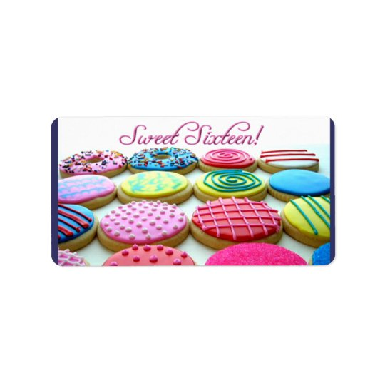 Sweet 16 cookie tray address label