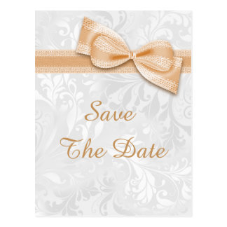 Sweet 16 Damask and Faux Bow Save The Date Postcard
