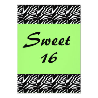 Sweet 16 Damask with Neon Green 13 Cm X 18 Cm Invitation Card