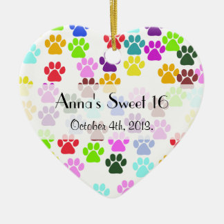 Sweet 16 - Dog Paws, Paw-prints - Red Blue Green Ceramic Ornament