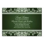 Sweet 16   Elegant Green Damask Invitation