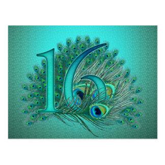 Sweet 16 elegant peacock feather template postcard