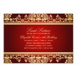 Sweet 16 | Elegant Red & Gold Damask Invitation 13 Cm X 18 Cm Invitation Card