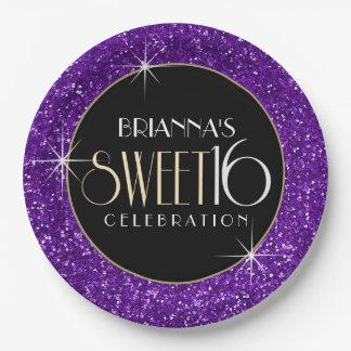 Sweet 16 Faux Purple Glitter Paper Plate