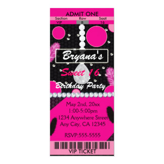 Sweet 16 Feathers Diamonds Pink Ticket Invitation