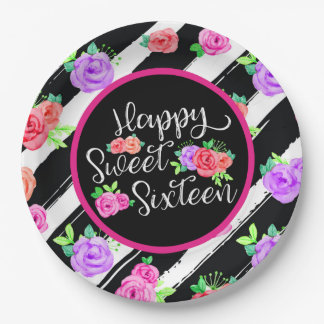 Sweet 16 Girl Edgy Roses & Modern Stripes Birthday Paper Plate
