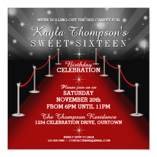 Sweet 16 Glamourous Red Carpet Party Invitations