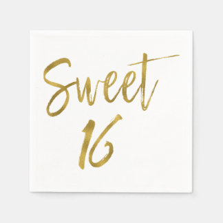 Sweet 16 Gold Foil Birthday Napkins Disposable Napkins