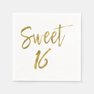 Sweet 16 Gold Foil Birthday Napkins Paper Napkin