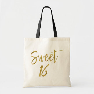 Sweet 16 Gold Foil Birthday Tote Bag
