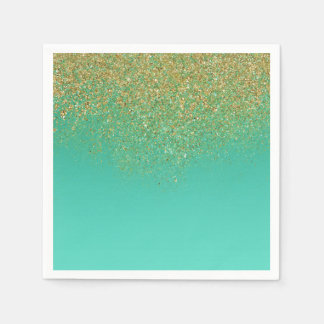 Sweet 16 Gold Glitter & Teal Birthday Party Paper Napkin
