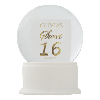 Sweet 16 Gold Look Typography Elegant Text Snow Globe