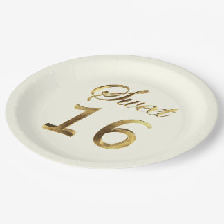 Sweet 16 Gold Look Typography Ivory Elegant Paper Plate