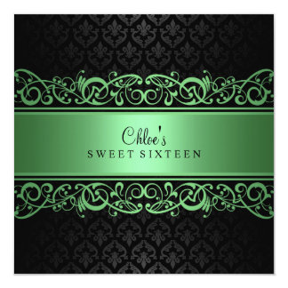 Sweet 16   Green & Black Damask Invitation