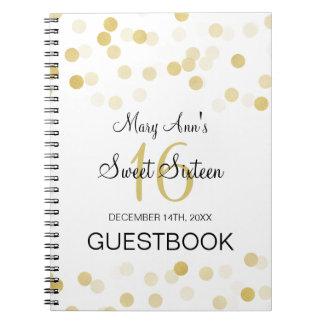 Sweet 16 Guestbook Faux Gold Foil Glitter Lights Spiral Notebook
