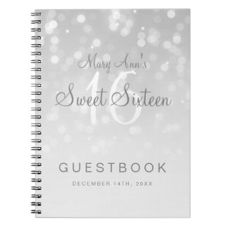Sweet 16 Guestbook Silver Bokeh Sparkle Light Spiral Notebook